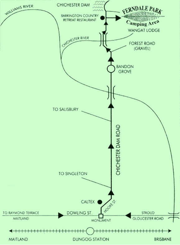 Map - Dungog to Ferndale Park